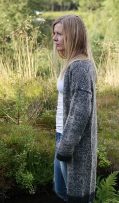 Bilde av Spettet, lang jakke i DROPS Alpaca og DROPS Alpaca Silk Brushed