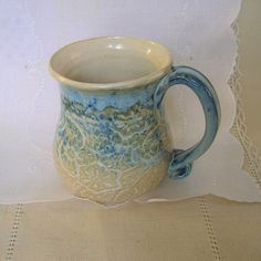 Stoneware Pottery Coffee Mug Coffee Cup 14 oz by PorcelainJazz