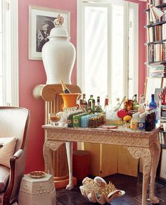 """thefoodogatemyhomework: """" A bar set in Miles Redd's New York living room via The Pursuit of Style blog. """""""