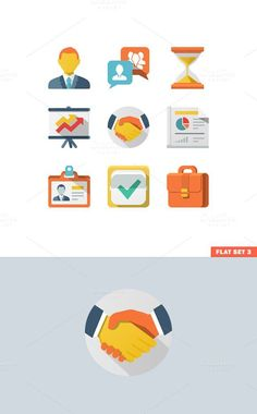 Business Flat Icon Set. Business Infographic. $6.00