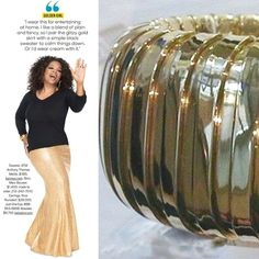 Oprah wearing a bold cuff bracelet made by Carlo Weingrill