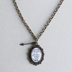 """Brandy inspirational necklace  $18 Www.plunderdesign.com/maryswinney  Reads """"She knew she could be brave because she was his."""""""