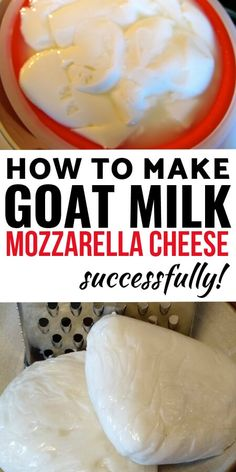 Try out this recipe for the perfect goat milk mozzarella cheese! No more crumbly, dry curds just lovely smooth mozzarella! Goat Milk Recipes, Goat Cheese Recipes, No Dairy Recipes, Goat Milk Mozzarella Recipe, Healthy Eating Recipes, Cooking Recipes, How To Make Cheese, Making Goat Cheese, Homemade Cheese