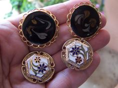 Vintage Cloisonne earrings lot by goodfindsfrommiami on Etsy, $8.00