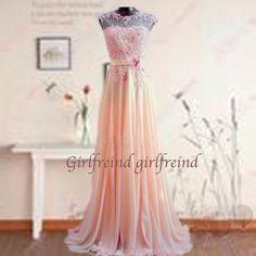 Sweetheart lace chiffon prom dress / evening dress