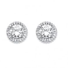4.91 TCW Cubic Zirconia Stud Earrings Platinum Plated at Viomart.com