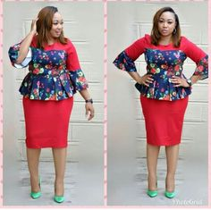 kitenge designs Printing two-piece fashion dress 1514 Foreverfad South African Dresses, Latest African Fashion Dresses, African Dresses For Women, African Print Fashion, African Wear, African Attire, Classy Work Outfits, Classy Dress, Africa Dress