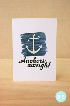 Clean and simple one-layer card.  Paint a background with A Muse Studio Splash! inks, stamp and emboss when dry.   Cool! #amusestudio #cardideas #nautical #handmadecard