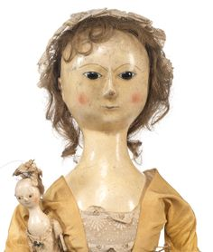 An important English wooden doll and her contemporary smaller doll, mid century William And Mary, Ann Doll, Old Dolls, Wooden Dolls, How To Antique Wood, Antique Toys, Queen Anne, Toys For Girls, Hobbies And Crafts