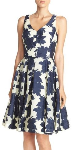 Maggy London Floral Jacquard Fit & Flare Dress (Regular & Petite)