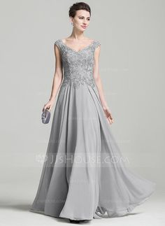 [US$ 147.49] A-Line/Princess V-neck Floor-Length Chiffon Mother of the Bride Dress With Appliques Lace (008074209)