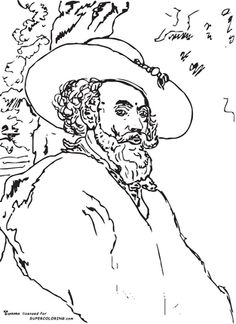 Self Portrait By Peter Paul Rubens coloring page