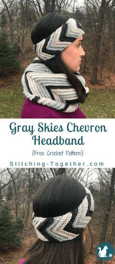 Gray Skies Chevron Headband. Free crochet pattern for a crochet headband.