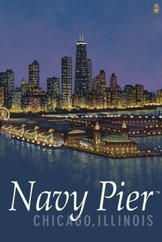 Navy Pier and Chicago Skyline - Lantern Press Poster