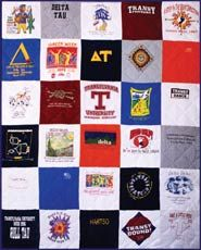 Campus Quilts Turns Old T Shirts Clothes Etc Into Amazing Quilts Featured In Real Simple Ma Campus Quilt Campus Quilt Company Tee Shirt Quilt