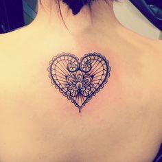 """""""#heart #tattoo #lace #lacebow #lacetattoo #marcomanzotattoo #cuore #tatuaggiocuore #girltattoo #backpiece #beautiful"""""""