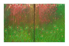 """Flower Painting Original Abstract Painting Acrylic Painting by M.Schöneberg """"Autumn spirits"""" Wall Art 32x20x0,75 Free Shipping Express"""