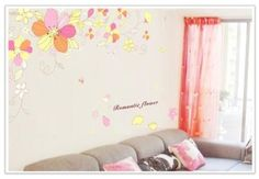 Wall Decals - YYone Romantic Flower Quote Yellow Red Flowers Blooming Wall Sticker Living Room Wall Decor