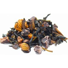 Midnight Chocolate Delight Black Tea   Ingredients:  black tea, cocoa beans, barley, green tea, chocolate flakes, flavor, apple, yogurt.  Steeping Suggestions: *1½ tsp. tea  *8 oz. boiling (212°) water  *steep for 3 - 4 minutes   http://www.orangestreetstorehouse.com/all-new-orange-street/midnight-chocolate-delight/