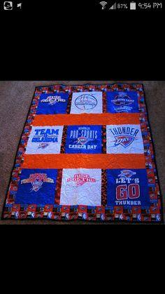 Oklahoma City Thunder tshirt quilt Career Day, Shirt Quilts, Oklahoma City Thunder, Warm, T Shirt, Supreme T Shirt, Tee Shirt, Tee
