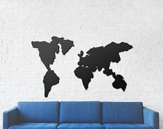 Etsy :: Your place to buy and sell all things handmade World Map Wall Decor, Metal Signs, Etsy Seller, Monogram, Wall Art, Interior Design, Creative, Handmade, Design Ideas