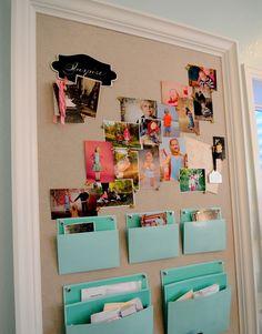 She's Crafty {craft room} Martha Stewart file pockets for bulliten board
