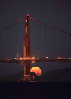 Moonrise behind the Golden Gate
