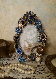 3fb6fe32cd OOAK Handmade Repurposed Vintage Jewelry Decorated Jeweled Picture  Photo  Frame sn 759. Wedding Memory table for the loved ones who have ...