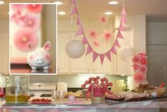 Little piggy baby shower decor