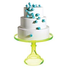 "Brides: Modern White Tiered Wedding Cake. ""I love these cascading sugar diamonds and the fact that you don't need a topper! I'm all for posing in front of a wedding cake%u2014so it has to be beautiful."""