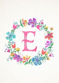 M Floral Wreath Monograms (The Cottage Market) Monogram Wallpaper, L Wallpaper, Alphabet Wallpaper, Wallpaper Backgrounds, Monogram Wreath, Monogram Letters, Floral Letters, Alphabet And Numbers, Letter Art