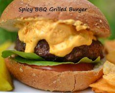 100 Ways To Prepare Hamburger: Spicy BBQ Grilled Burgers Grilled Hamburger Recipes, Hamburger Soup, Gourmet Hamburgers, Grilled Hamburgers, Bacon Wrapped Burger, Grilling Recipes, Cooking Recipes, Delicious Burgers, Tasty Burger
