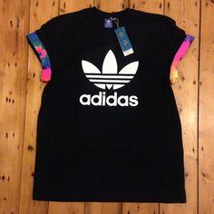 ADULTS/KIDS Custom Black Cut & Sew Authentic Adidas Originals Neon Tie dye cuff tee.