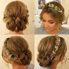 6 bridesmaids curly updo with a floral headband