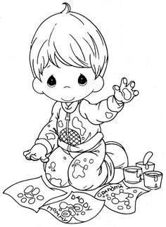 Kid painting with his hands–free coloring pages precious moments | Coloring Pages