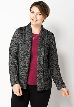 Paisley Knit Jacquard Shawl Jacket  CJ Banks