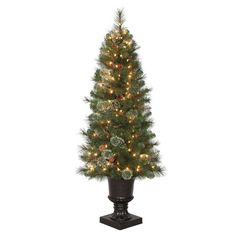 4.5 ft. Alexander Pine Potted Artificial Christmas Tree with Pinecones and 150 Clear Lights TV46M5311C00 at The Home Depot - Mobile