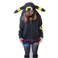 Pokemon Umbreon Women Hoodies With Eear Warm Fleece Hood Hoodie Costume Cosplay Adult Coat Jacket