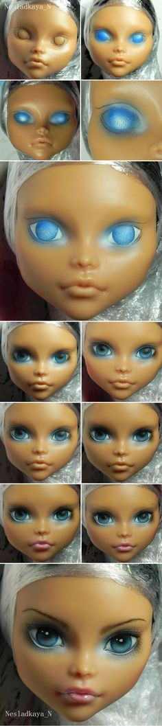 Doll repaint tutorial monster high faces 63 Ideas for 2019 - Mandeep Madden Dolls Custom Monster High Dolls, Monster High Repaint, Custom Dolls, Doll Repaint Tutorial, Doll Tutorial, Eye Tutorial, Doll Eyes, Doll Face, New Dolls