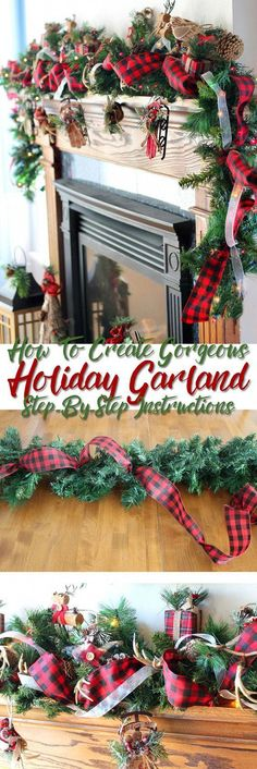 christmas time Step-by-step tutorial teaching you how to put together a stunning Christmas garland. So thats how the pros do it. Just in time for holiday decorating. This will look so good on my fireplace for Christmas! Diy Christmas Garland, Decoration Christmas, Plaid Christmas, Country Christmas, Winter Christmas, Christmas Home, Holiday Decorating, Christmas Island, Christmas Mantles