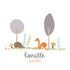 C'est l'automne, annoncez la naissance de votre bébé avec ce joli faire part au dessin automnal, écureuil, feuilles, arbres et hérisson original et tendance