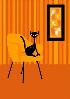 Lamb Cat - Original Limited Edition Modern Print by Kerry Beary - Orange. $20.00, via Etsy.