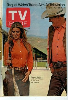 RAQUEL! (NBC-TV Special) - Raquel Welch & special guest John Wayne - TV Guide magazine cover - 1970.