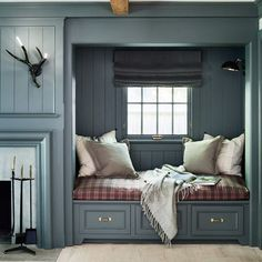 Cozy nook. Great gray. By @rafechurchill and @kjdesignsllc.  @amandakirkpatrickphoto | #color #bedroom #bed