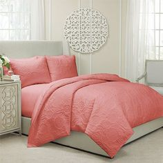 Barcelona Coral Three Piece Queen Quilted Coverlet And Duvet Set Duvet Set Duvet Covers &