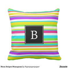 Monogrammed throw pillow with stripes in neon colors