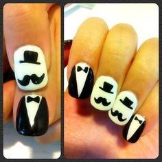 My DIY mustache gentleman nail design I did two weeks ago for Movember :)