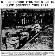 """WW1, 1916: """" The Berlin Stadion, where the Olympic Games were to have been held this year, is being used as a training ground for soldiers. Here the starter is seen with his pistol raised, but he will not signal for a race to begin. When the shot is fired the competitors will hurl their bombs."""" -Water Carter - WW1 Soldiers Tale - WW1, 1916: """"Le stadion Berlin, où les Jeux Olympiques devaient avoir eu lieu cette année, est utilisé comme un terrain d'entraînement pour les soldats Ici, le…"""