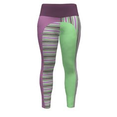 Hey June Handmade Sloan Paneled Leggings made with Spoonflower designs on Sprout Patterns. Fizz n' Bubble Stripes of raspberry and a minty pastel green combine with coordinating solids for  a lively fashion statement.#spoonflowered #sproutpatterns #ilovestripes #yogafashion #gymfashion #DIY fashion #leggings #Ilovespandex #iluvspandex