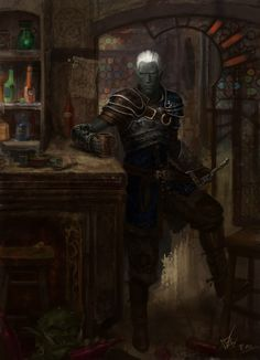 elfo negro na taverna